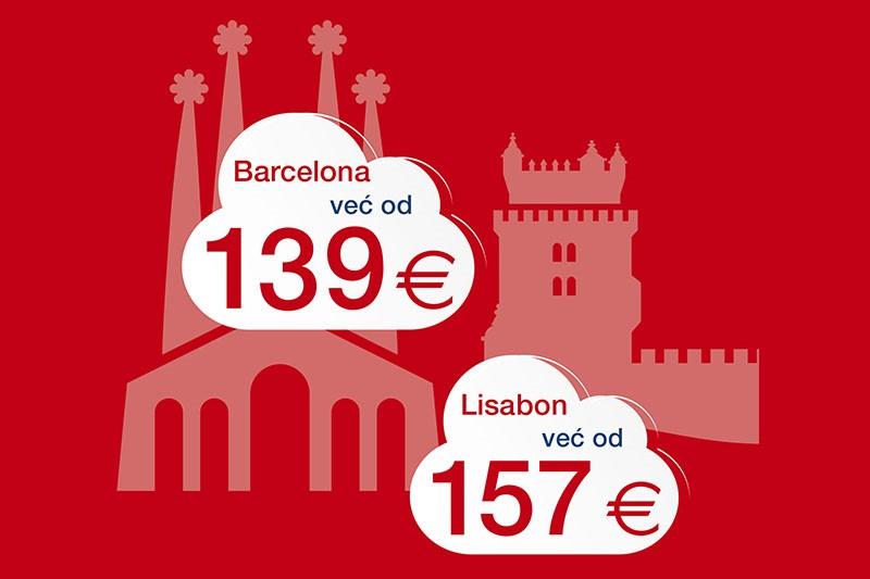 Posjetite Barcelonu i Lisabon - uz povoljnije aviokarte Croatia Airlinesa