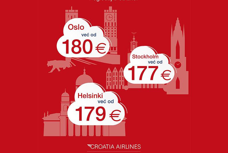 Letite povoljnije u Oslo, Helsinki i Stockholm - uz Croatia Airlines
