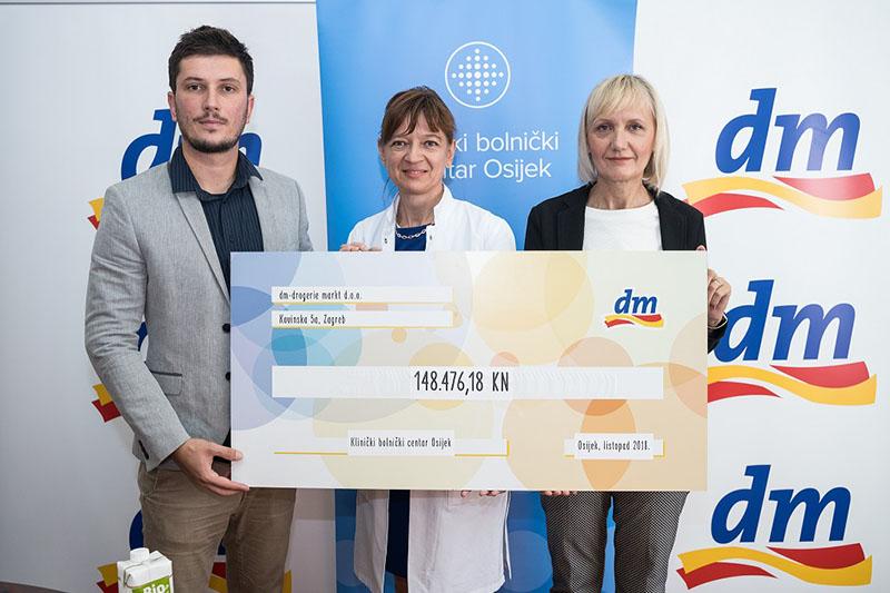 dm donirao 148 tisuća kuna za opremanja KBC-a Osijek