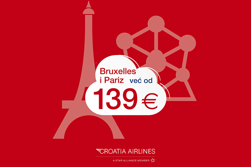 Bruxelles ili Pariz? Započni novu godinu uz povoljnije letove Croatia Airlinesa